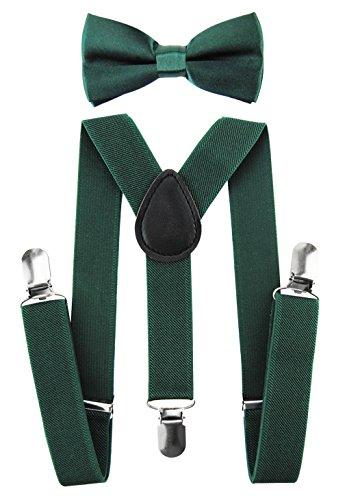 axy Hochwertige Kinder Hosenträger-Y Form mit Fliege- 3 Clips EXTRA STARK-Uni Farben (Grün) (Jungen Fliege Grün)
