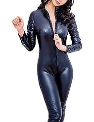 lencería hueco de noche abierta bodysuit con cremallera monos cuero artificial negro by Sannysis (negro, XL)