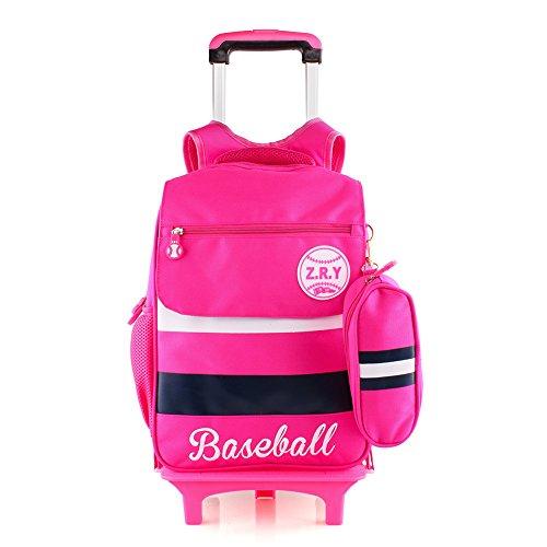 cartable scolaire à roulettes Sac d'école Sac à dos à roulettes nylon imperméable détachable pour fille garçon enfant (rose)