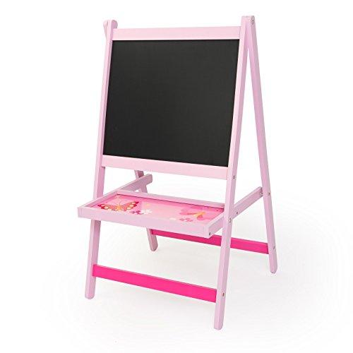 Homestyle4u doppelseitig Art Staffelei Drawing schwarz Board mit Schmetterling Design, Holz, mehrfarbig, 30x 30x 30cm Kita, Krippe Blatt