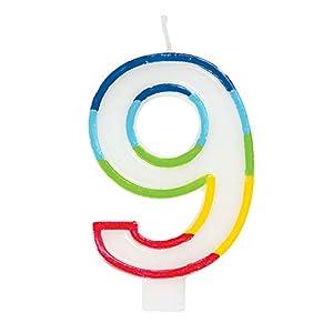 Unique Party 19949 - Vela de cumpleaños con borde arcoíris número 9