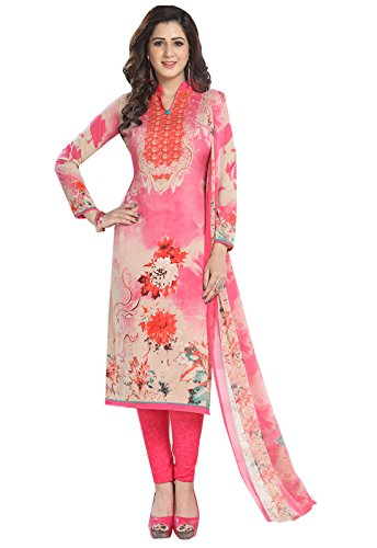 Ishin Synthetic White & Peach Party Wear Wedding Wear Casual Daily Wear Festive Wear Bollywood New Collection Printed Latest Design Trendy Unstitched Salwar Suit Dress Material (Anarkali/Patiyala) With Dupatta  available at amazon for Rs.499