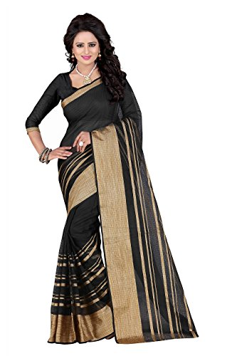 SUNSHINE Black Color Poly Cotton Fabric Beautiful Border Saree( New Arrival Latest Best Design Beautiful Saree Material Collection For Women and Girl Party wear Festival wear Special Function Events Wear In Low Price With Todays Special Offer with Fancy Designer Blouse and Bollywood Collection 2017 )  available at amazon for Rs.319