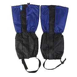 Generic 1 Pair Adult's Fleece Thermal Waterproof Snow Gaiters Cover - Blue Black