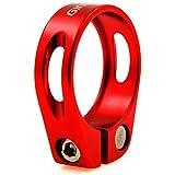 Rojo 34,9mm tija de sillín abrazadera aleación de aluminio MTB bicicleta sillín de ciclismo, Nuevo