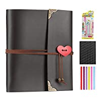XIUJUAN Scrapbook with Gift Box, Vintage Leather Photo Album Black Pages Memory Guest Book, Christmas Valentines Birthday Gift Wedding Anniversary Present for Women Men Mum Her, Love Heart, Medium