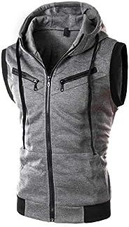 Previn Men's Sleeveless Hoodie Casual Slim Fit Zip Up Drawstring Plain Tank Top Hooded V