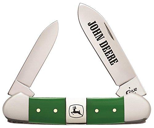 CaseXX XX John Deere Green Delrin Center Bolster Canoe Stainless Pocket Knife Knives