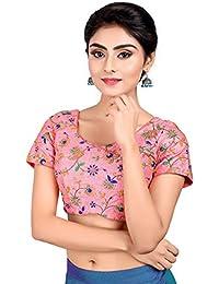 8f40a5dc5f0d52 Salwar Studio Women's Light Pink Dupion Silk Readymade Padded Saree Blouse (SSB2060_Pink)