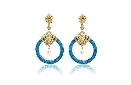 Medusa 22ct Gold Vermeil Stingray Hoop (Ocean & Pearl) - Orecchini In Oro Perle Vermeil