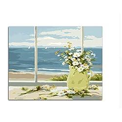 DIY Margaritas Blancas Flores Pintadas A Mano Cuadros Pintura Al Óleo Por Números Para El Regalo Único Decoración Para El Hogar, Con marco, 50x60cm