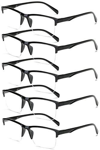 VEVESMUNDO Lesebrille Herren Damen Modern Halbrahmen Lesehilfe Sehhilfen Halbrand Schwarz Brillen 0 0,25 0,5 0,75 1,0 1,25 1,5 1,75 2,0 2,25 2,5 2,75 3,0 3,25 3,5 3,75 4,0 (5 Stück Lesebrillen, 2.0)