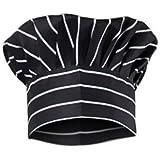 Aurum Creations Chalk Stripe Black Chef Cap   Hat