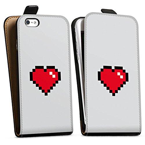 Apple iPhone X Silikon Hülle Case Schutzhülle 8-Bit Heart Herz Liebe Downflip Tasche schwarz