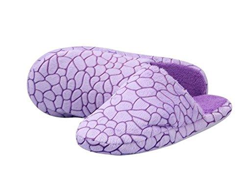 Minetom Unisex Pantofole Invernali Panno Morbido Di Corallo Fantasia Morbido Scarpe EUROPE Taglia Porpora