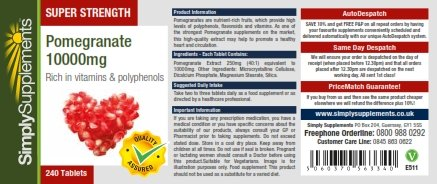 Super Strength Pomegranate 10000mg | Powerful & Highly Absorbent Antioxidant | 240 Tablets