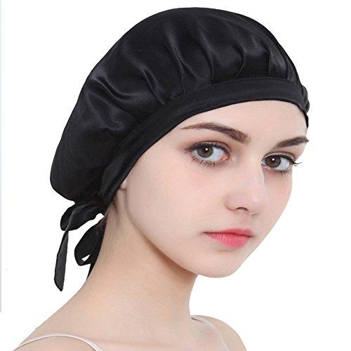 Bonnet de Nuit en Soie avec Elastique Chapeau de Nuit Coiffe de Cheveux Adulte pour Femme - Noir