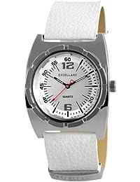 Excellanc 295022000095 - Reloj analógico de cuarzo para hombre, correa de cuero color blanco