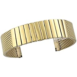 20mm Top Craft Gold Mesh Watch Strap Bracelet with Removable Links Folded Snap Buckle Polished Finish