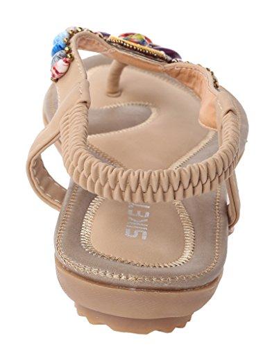 Vogstyle Damen Sommer Bohemia Sandalen Zehentrenner Clip Toe Flip Flops Strand Schuhe Art 2-Aprikose