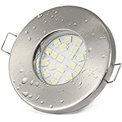 6er Set 12Volt Bad Einbaustrahler IP65 Farbe: Edelstahl gebürstet | (AC/DC) 12V 4,5Watt LED Leuchtmittel 380Lumen warmweiss + 50Watt LED Trafo | Leuchtmittel austauschbar