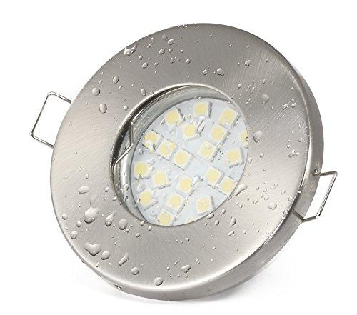 Set Einbaustrahler IP65 Optik: Edelstahl gebürstet Bad | Dusche | Sauna | inkl. GU10 5Watt LED Leuchtmittel 3000Kelvin (warm-weiß) 430Lumen (Leuchtmittel austauschbar) | Einbauleuchten Edelstahl lackiert rostfrei