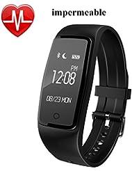 Willful Impermeable Pulsera Inteligente Pulsera Actividad Bluetooth con Monitor de Ritmo Cardiáco, Monitor de Dormir,Monitor de Calorías,Podómetro,Notificación de mensaje,Pulsera Actividad para Android y IOS Teléfono móvil