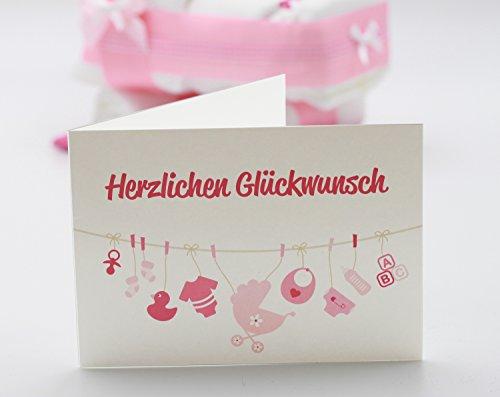 """Kleine Windeltorte / Windelwagen rosa für Mädchen – mit Lätzchen """"kleine Prinzessin"""" – das perfekte Geschenk zur Geburt oder Taufe + gratis Klappkarte - 3"""