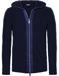 Armani Jeans Hommes par le biais de zip veste à capuchon Bleu Foncé