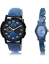 The Shopoholic Black Blue Combo Stylist Designer Combo Pack 2 Black And Blue Dial Analog Watch For Boys And Girls...