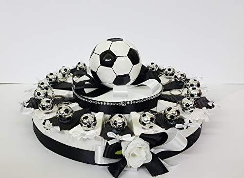Torta bomboniere palloni calcio juventus portachiavi da 20 fette battesimo nascita