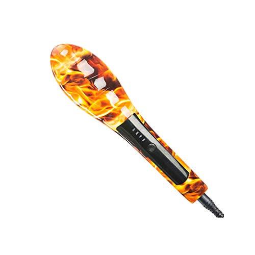Yyqjfb piastra a spazzola lisciante spazzola lisciante per capelli piastra per capelli lisci 2 in 1 ioni negativi temperatura regolabile riscaldamento rapido per capelli cura 55w