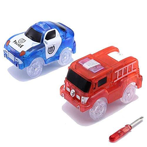 CODOMOXO Lot de 2 Voitures Lumineuses pour Le Magic Tracks Circuit Flexible et Lumineux (Bleu Police + Moteurs d'incendie)