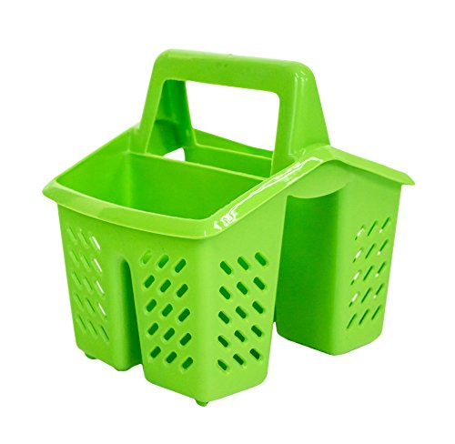 Green 4 Compartment Plastic Sink Tidy Filter Cutlery Drainer Caddy with Handle