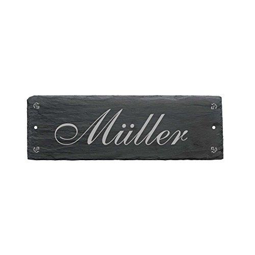 Wetterfestes Schild « MÜLLER/WUNSCHNAME möglich » aus Schiefer - ca. 22 x 8 cm - Türschild mit persönlichem Namen - Namensschild Klingelschild - Familie Haustür Eingang - Wunschgravur