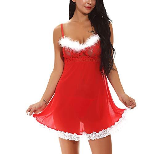 PAOFU-Frauen Sexy Santa Weihnachten Dessous Babydoll Perspektive Hemden - Weihnachten Fantasy Sexy Santa Kostüm Frauen
