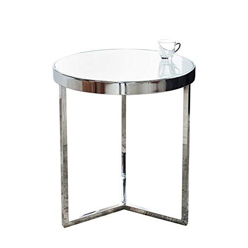 Design Beistelltisch Original ASTRO 50 cm chrom / weiß Couchtisch Tisch Glastisch -