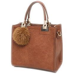 Top-Handle sacs femmes Sacs à main en cuir grand sac shopping solide avec pompon boule de poil brun Sac à bandoulière sacs de 24cm par 22cm