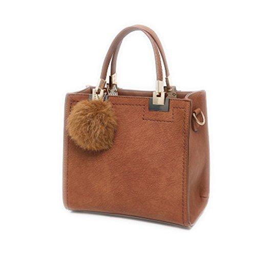 Bolsas Top-Handle Mujer bolsos de cuero sólido grande Tote Compras con borla Fur Ball bolsas bandoleras Bolso marrón de 24cm por 22cm.