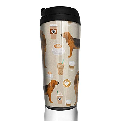 Travel Coffee Mug New Bloodhound Fabric Dogs and Coffees 12 Oz Spill Proof Flip Lid Water Bottle Environmental Protection Material ABS