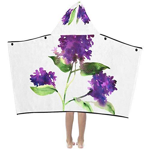 Lila violette lila Blume weiche warme Baumwolle gemischt Kinder verkleiden sich mit Kapuze tragbare Decke Badetücher werfen Wrap für Kleinkinder Kind Mädchen Jungen Größe Home Reise Schlaf Geschenke -