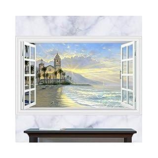 DCGDDP 60x5x5 (23,62 Zoll x 1,97 Zoll x 1,97 Zoll) Vintage Seascape Poster 3D falsche Fenster Landschaft Wandaufkleber Baum Aufkleber Art Deco Möbel für Kinder Babyzimmer