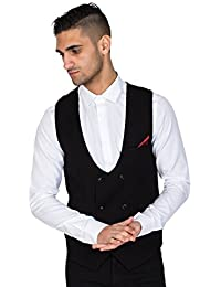 Marc Darcy Mens Black Double Breasted Waistcoat, Smart Formal Vest by