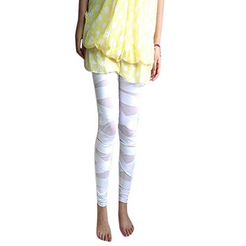 Eleery Damen Skinny Leggins Strumpfhosen Lange Schlank Hose elastisch Bleistifthose (Weiss)