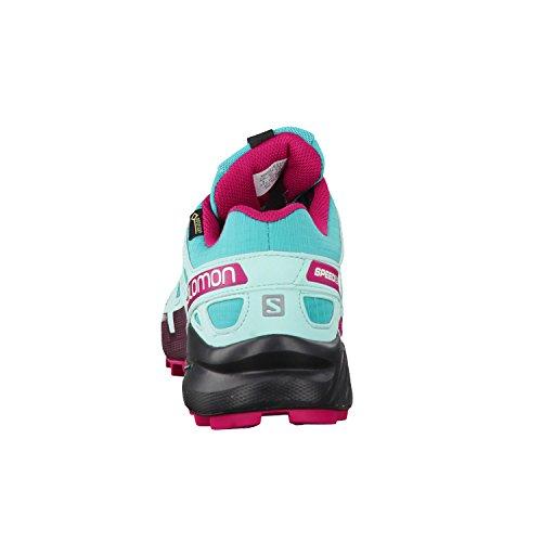 Salomon Femme Speedcross 4 GTX, Black/Black/Metallic Bubble Blue, Synthétique/Textile, Chaussures de Course à Pied et Trail running, Taille 36 Türkis (Ceramic/aruba Blue/sangria)