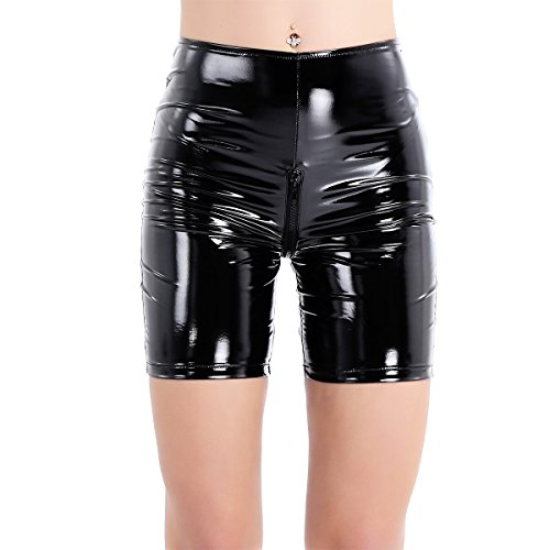 iixpin Damen Shorts Wetlook Kurz Hose Leggings Leder-Lack Panty Unterwäsche Hot Pants Schwarz S-XL Schwarz Small