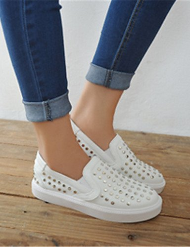 ZQ Scarpe Donna - Mocassini - Casual - Punta arrotondata - Piatto - Finta pelle - Nero / Bianco , white-us8 / eu39 / uk6 / cn39 , white-us8 / eu39 / uk6 / cn39 white-us5.5 / eu36 / uk3.5 / cn35