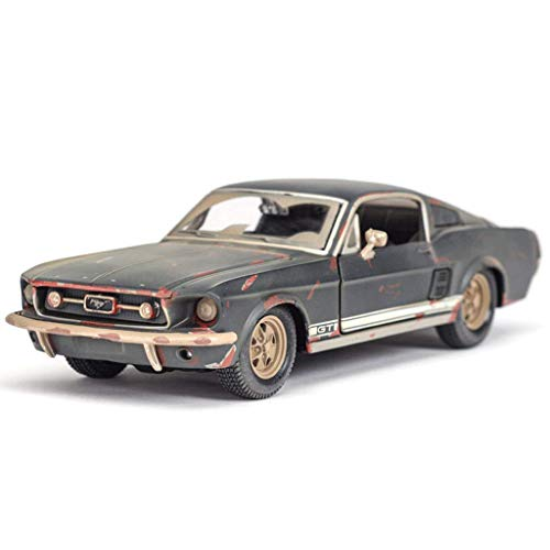 GAOQUN-TOY 1:24 Ford 1967 Mustang GT Retro Old Version Nostalgic Ornaments Simulation Alloy Car Model (Colore : Gray)
