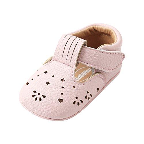 Auxma Babyschuhe Baby Mädchen PU Lederschuhe Erste Wanderschuhe Anti-Rutsch-Schuhe Krabbel Hausschuhe für 0-18 Monate (13cm/12-18 M, Rosa)