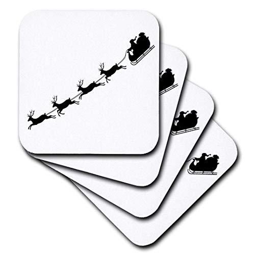3dRose CST 201879Urlaub Xander Zitate-Santa Claus mit Rentier, Schlitten schwarz Bild auf weiß Hintergrund-Untersetzer, Gummi, schwarz, set-of-8-Soft (Bild Weißem Hintergrund)